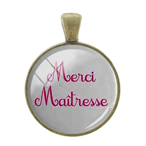 (Pendants -1Pc Merci Maitresse French Letters Words Pendants Charms 25Mm Glass Bronze Plated Thanks Teachers Mother Gift Jewelry - CT299)
