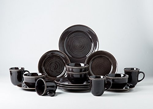 lain Dinnerware Sets, RIVER NILE, Handmade, Ornament Motif, Service for 4 (Black) (16 Piece Tan Dinnerware Set)