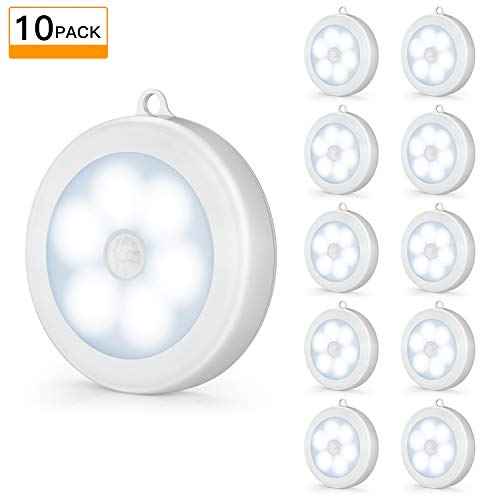 2019 Upgraded Motion Sensor LED Night Light, Cordless Battery-Powered Wall Light, Non-Fall, Stick-on Magnet Closet Lights, Safe Lights for Stairs, Hallway, Bathroom,Kitchen,Cabinet (Pack of 10, White)
