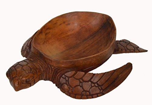 Hand Carved Mahogany Wood Nautical Turtle Bowl -