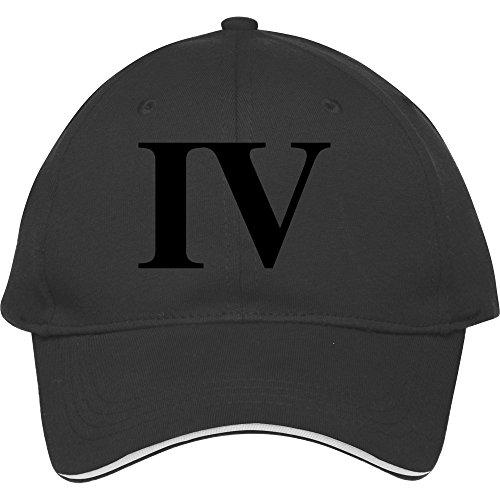 Roman Numeral 4 Black Cotton Sport Head Wear Snapback Hat Cap Classic Stylemale/female Snapback Sunhat (Roman Head Wear)