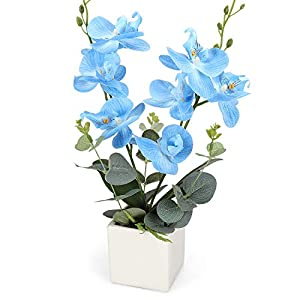 RERXN Artificial Orchid Bonsai Fake Orchid Arrangement 3 Heads PU Potted Phalaenopsis Plant for Home Party Decor 3