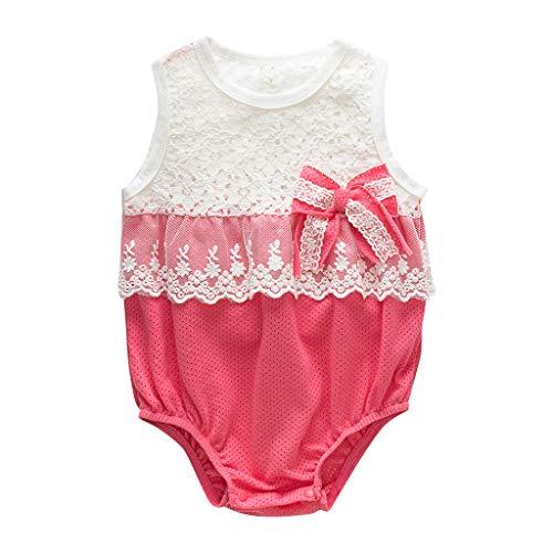 (Zlolia Newborn Girls Patchwork Vest Romper Lace Ruffled Mesh Bow Tie Jumpsuit Summer Children Cute Clothing Red)