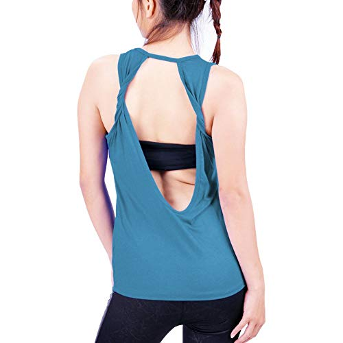 Lofbaz Women's Sexy Twist Open Back Yoga Shirts Workout Clothes Sports Tank Tops Pilates Fitness Hiking Muscle T Shirts Vest - Aqua Blue - L