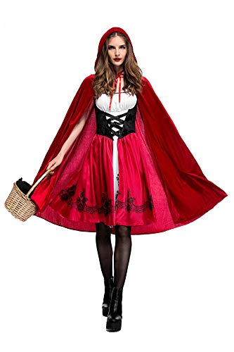 YQWEL Women's Little Red Riding Hood Halloween Cosplay Costume Make up Party Dress (X-Large, Red) ()