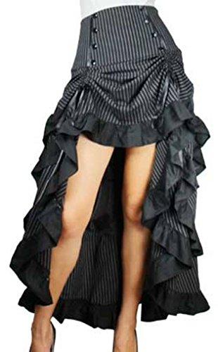 -Burlesque Blaze- Black White Pinstripe Gathered Steampunk Vintage Style Skirt (MD)