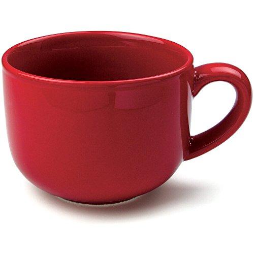OmniWare Teaz Cafe Red Stoneware 24 Ounce Jumbo Coffee Mug, Set of ()