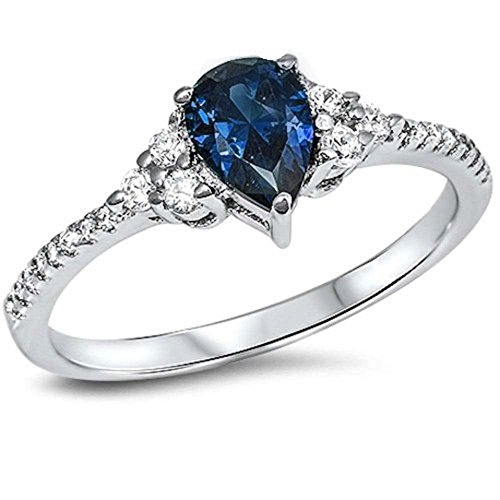 Teardrop Accent Wedding Ring Pear Shape Simulated Deep Blue Sapphire Round CZ 925 Sterling (Gemstone Teardrop Ring)