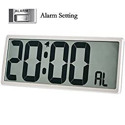 TXL Jumbo Digital Large LCD Screen Display Alarm Clock ,Wall Clock with Date/Time/Temperature Display,Snooze Button,Battery Included,Silver