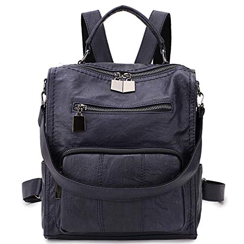 Women Backpack Purse,RAVUO Faux Leather Small Shoulder Bag Mini Backpack for Ladies Three Ways to Carry Darkblue