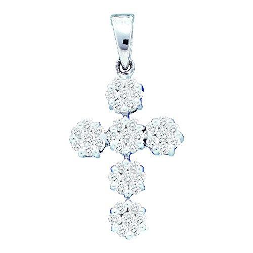 14kt White Gold Womens Round Diamond Cluster Cross Faith Pendant 1/2 Cttw