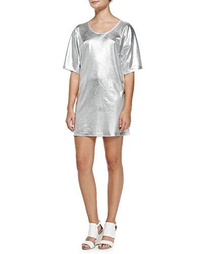 McQ Alexander McQueen Short-Sleeve Silver Foil T-Shirt Dress (Medium) Alexander Mcqueen Women Shirts