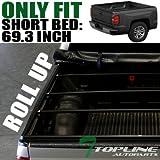 low profile cab lights - Topline Autopart Lock Roll Up Soft Vinyl Truck Bed Tonneau Cover For 14-18 Chevy Silverado 1500 ; GMC Sierra 1500 Crew Cab 5.8 Feet ( 68