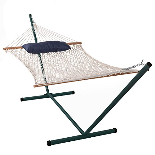 Lazy Daze Hammocks Cotton Rope Hammock with 15 Feet Steel Stand and Pillow Combo