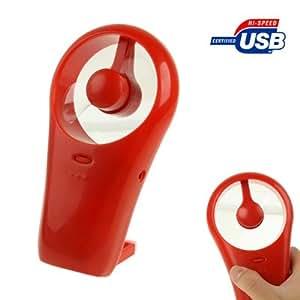 LUPO - Ventilador ultrasilencioso con soporte y entrada mini USB, color rojo