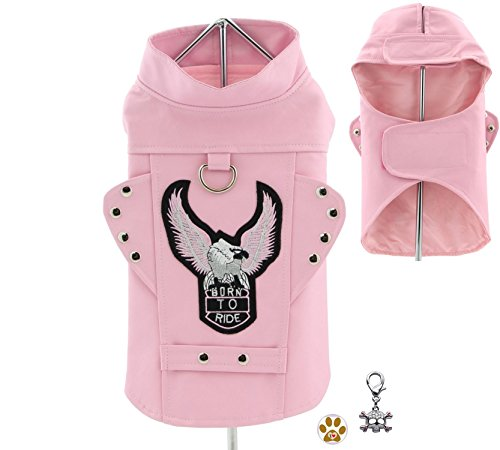 "Authentic Pink Born to Ride Motorcycle Harness Jacket with Skull Charm - Dog SIzes XS thru 3XL (Medium- Chest 14-16"", Neck 12-14"", Pink)"