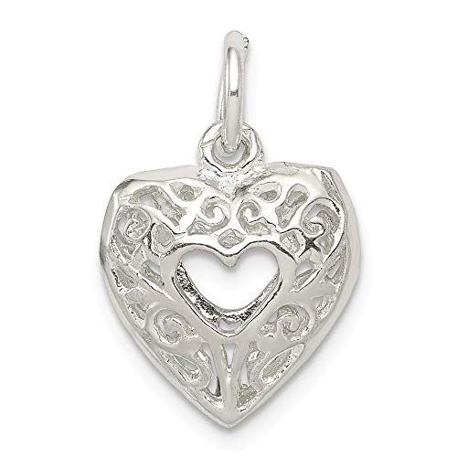 Mireval Sterling Silver Filigree Heart Charm (approximately 15 x 13 -