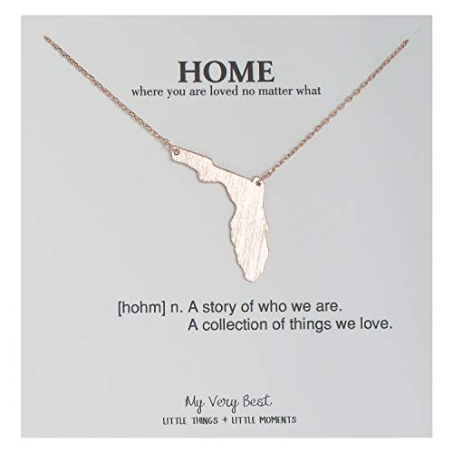 (My Very Best State Map Necklace (Florida_Rose Gold Plated)
