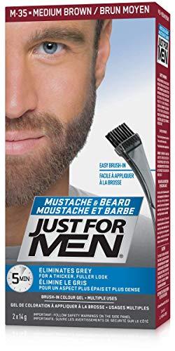 Just For Men Mustache & Beard Brush-In Color Gel, Beard Coloring for Men, Medium Brown