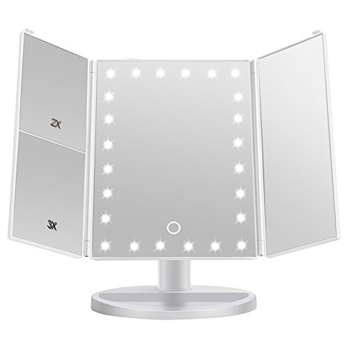 [2018 Upgraded Version] Lighted Makeup Mirror, Wondruz 24 Led Lights Vanity Mirror with Lights and Magnification (2x/3x), Touch Screen, 180° Rotation,Dual Power Supply, Trifold Mirror (White) by Wondruz