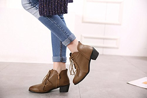 LvYuan-mxx Las mujeres ponen en cortocircuito las botas / el invierno de la caída / el talón grueso punteó el dedo del pie retro / ata los cargadores de los cordones / la comodidad ocasional / la ofic BROWN-36