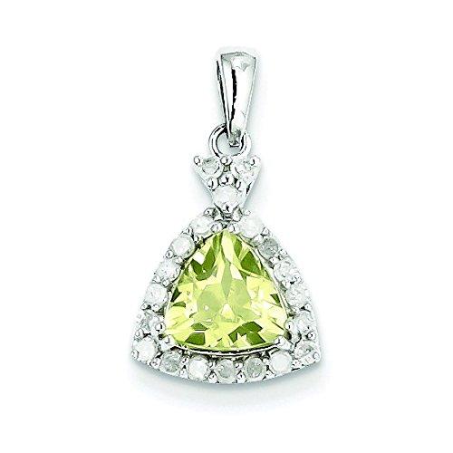 Argent Sterling diamant et Quartz jaune-JewelryWeb Pendentif Triangle