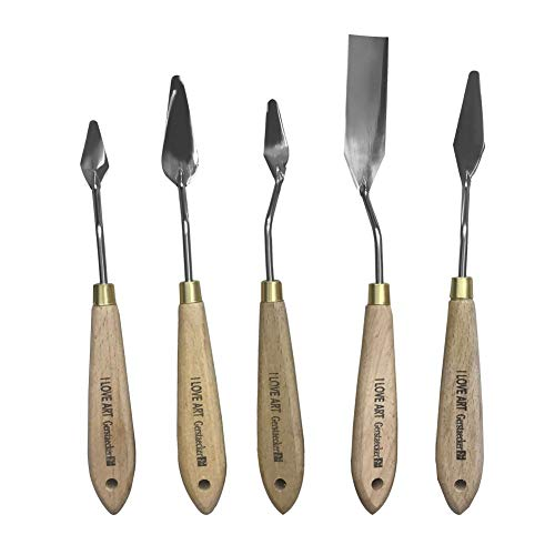 Seawang パレットナイフ スパチュラ 5本セット 油絵 アクリル塗料 ペインティングナイフ 絵画用