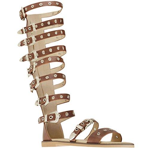 Fashion Hautes Spartiate Clair Lanières Été Thirsty Sandales Plates Faux Style Marron Cuir Femme avec pour qB0qz6Wr