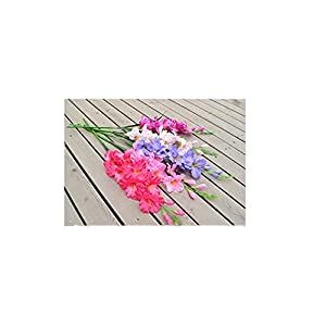 B Blesiya 1pc Artificial Silk Flowers Blue Gladiolus Floral Bouquets Indoor Outdoor Vase Filler Home Kitchen Patio Wedding Centerpieces Arrangements 1