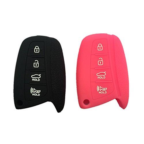 2Pcs New Peachblow Black Silicone 4 Buttons Protective Smart Remote Key Fob Skin Cover Bag Holder for HYUNDAI ix45 Santa (Santa Fe Tool Car)