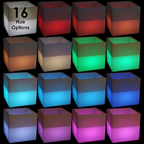 Sunnydaze Indoor/Outdoor LED Ice Bucket with Remote Control, Rechargeable Battery, RGB Color-Changing, 16-Inch Cube by Sunnydaze Decor (Image #5)