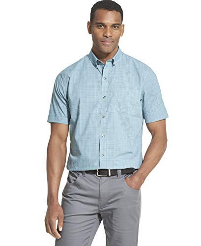 - Van Heusen Men's Flex Short Sleeve Button Down Check Shirt, Turquoise Mallard Blue, XX-Large