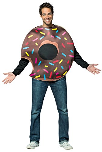 Doughnut Man Costume (UHC Men's Chocolate Doughnut w/ Bite Funny Theme Party Halloween Costume, OS)