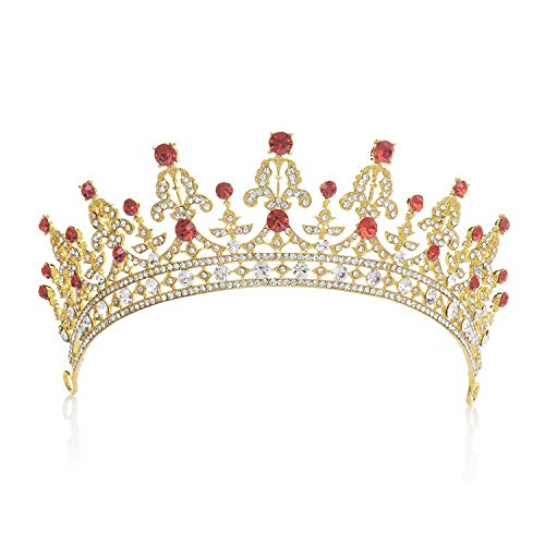 SWEETV Costume Tiara Crown CZ Crystal Wedding Pageant Tiara Bridal Headpiece Women Hair Jewelry, Gold+Ruby]()