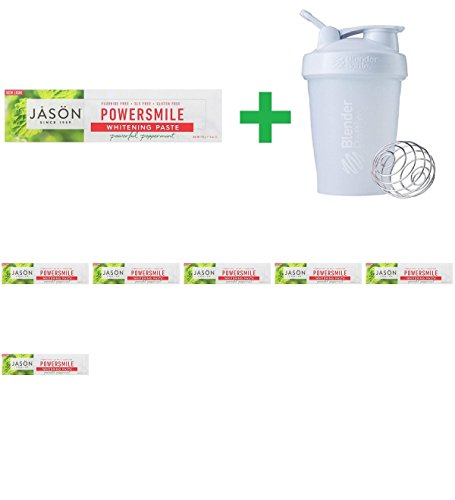 Jason Natural, PowerSmile, Whitening Paste, Powerful Peppermint, 6 oz (170 g) (7 PCS) + Assorted Sundesa, BlenderBottle, Classic With Loop, 20 oz