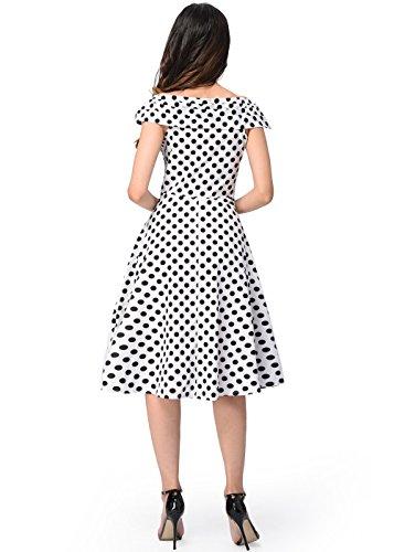 Vintage de los años 50 de la vendimia sin mangas del estilo de los lunares imprimen el vestido de la A-line de la llamarada Blanco