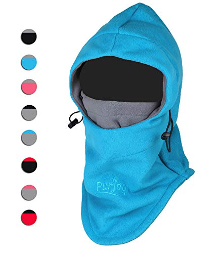 Purjoy Multipurpose Use 6 in 1 Thermal Warm Fleece Balaclava Hood Police Swat Ski Bike Wind Stopper Full Face Mask Hats Neck Warmer Outdoor Winter Sports Snowboarding Cap(Blue+Grey)
