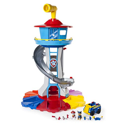 PAW Patrol My Size Lookout Tower with Exclusive Vehicle, Rotating Periscope & Lights & - Train Car Collectible