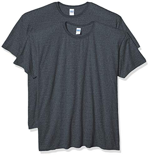 Gildan Men's Fitted Cotton T-Shirt, 2-Pack, Dark Heather, 2X-Large (Mens By Clothing Sold Amazon)