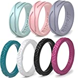 Rinfit Silicone Wedding Rings for Women 3 or 6 Ring Pack - Designed, Rubber Rings. Unique Set of Thin and Stackable Wedding Bands for...