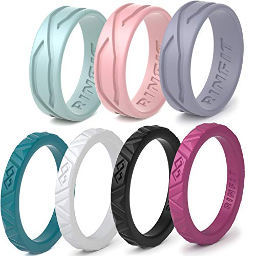 Rinfit Silicone Wedding Rings for Women 3 or 6 Ring Pack - Designed, Rubber Rings. Unique Set of Thin and Stackable Wedding Bands for Women. U.S. Design Patent Pending (6, Set #3)