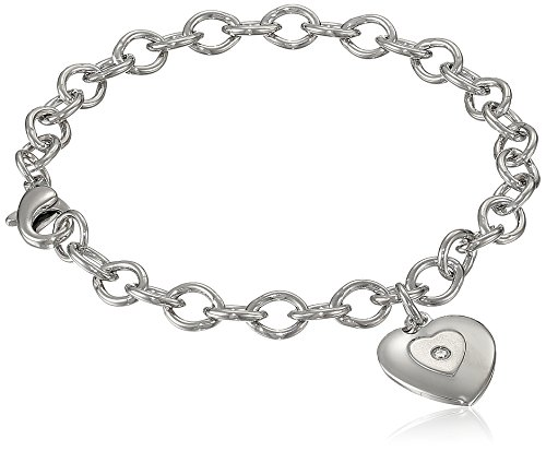 Baby Diamond Heart (Sterling Silver Pre-Teen Diamond Stamped Heart Charm Bracelet, 6.75