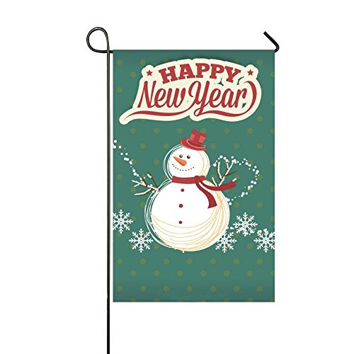 Dora's Flag Cute Snowman Happy New Year Card 28x40 Inch Garden Flag - Double Sided Holiday Decorative Outdoor House (Cute Dora)
