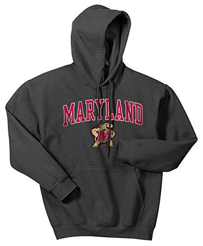 Maryland Terps Ncaa Hoody - Elite Fan Shop NCAA Men's Maryland Terrapins Hoodie Sweatshirt Dark Heather Arch Maryland Terrapins Dark Heather X Large