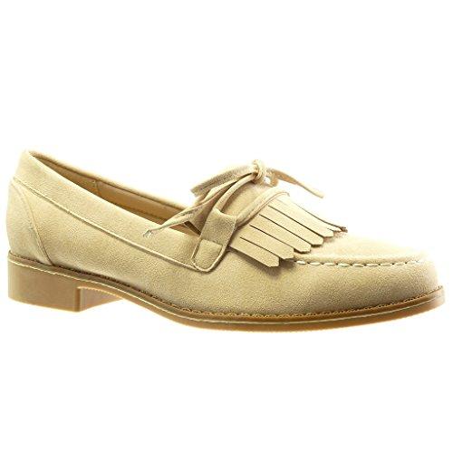 Angkorly - damen Schuhe Mokassin - Slip-On - Franse - Spitze - Knoten Blockabsatz 2.5 CM - Beige