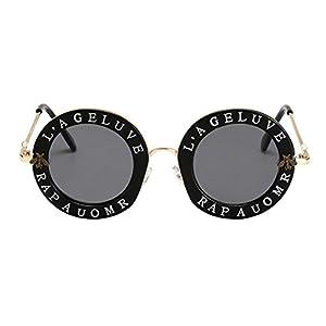 Fashion Eyewear,Mr.Macy Womens Retro Vintage Little Bee Letters Round Circle Sunglasses Eyewear Clout Goggles (Free, B)