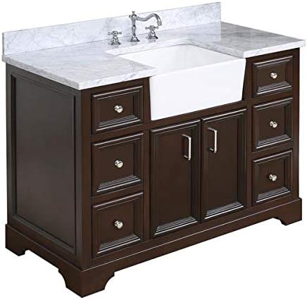Amazon Com Zelda 48 Inch Bathroom Vanity Carrara Chocolate Includes Chocolate Cabinet With Authentic Italian Carrara Marble Countertop And White Ceramic Farmhouse Apron Sink Kitchen Dining