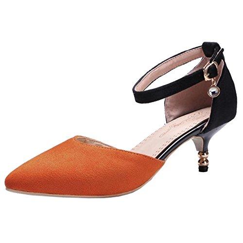 COOLCEPT Damen Sommer Kitten Heel Schuhe Orange