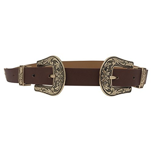 ens Double Buckle Thick Quality Faux Leather Western Belt Ladies Waist Band (Brown Gold) (Women Western Belt Buckles)