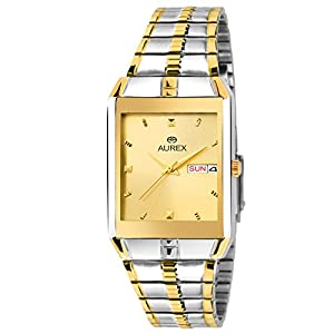 AUREX Analogue Men's Watch (Gold Dial Silver, Gold Colored Strap)